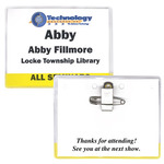 MH128 - 4 x 3 Vinyl Translucent Color Bar Name Tag Holder with Pin/Clip-Blank