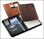 30001ZGL - Zippered Writing Portfolio with Pneumatic Calculator - Genuine Leather