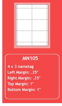 MN105 - Nametag Inserts
